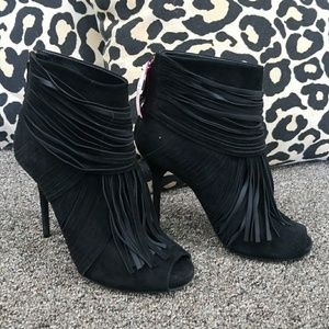 Gucci Italy stiletto fringe booties 38